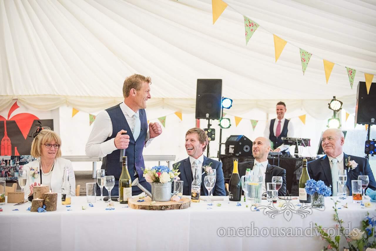 Best man dances to 'Gay Bar' by Electric Six at Dorset Wedding Photographers Wedding