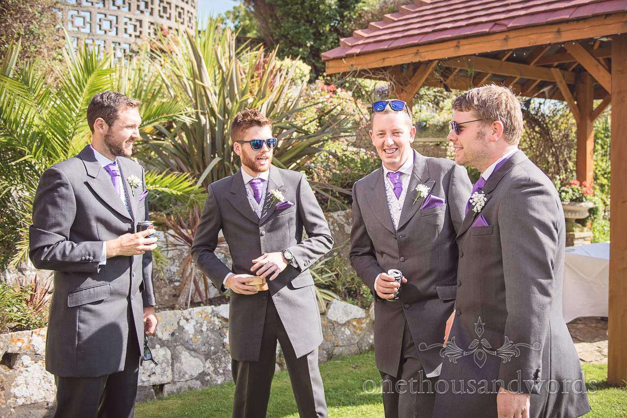Best men and groom share a joke before Grand Hotel Wedding Photographs