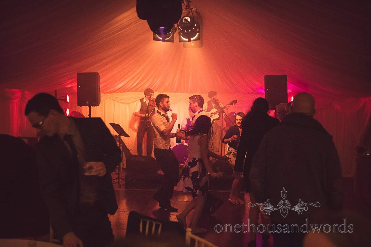 Best men on the marquee dance floor from Burnbake wedding reception