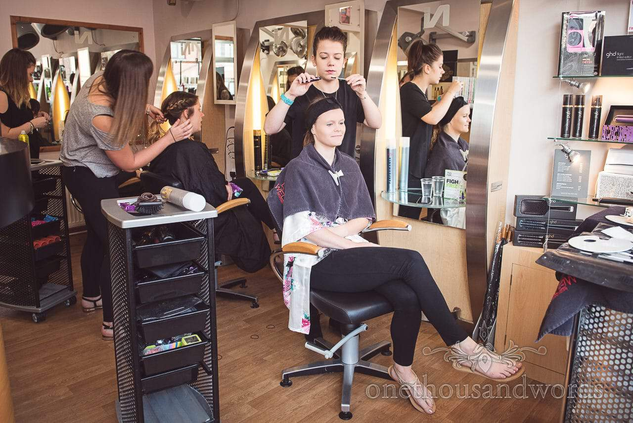 Bride has hair styled on morning of Grand Hotel Wedding Photographs
