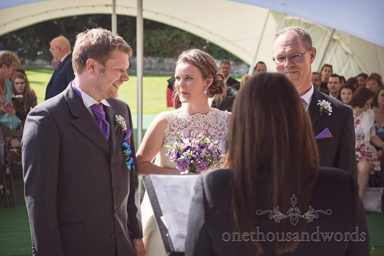Bride is escorted to groom by father at Grand Hotel Wedding Photographs