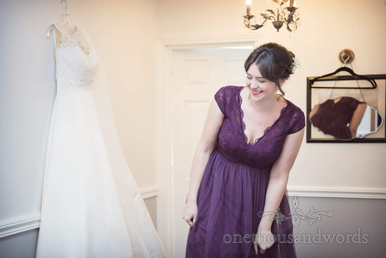 Bridesmaid and wedding dress on morning of Grand Hotel Wedding Photographs