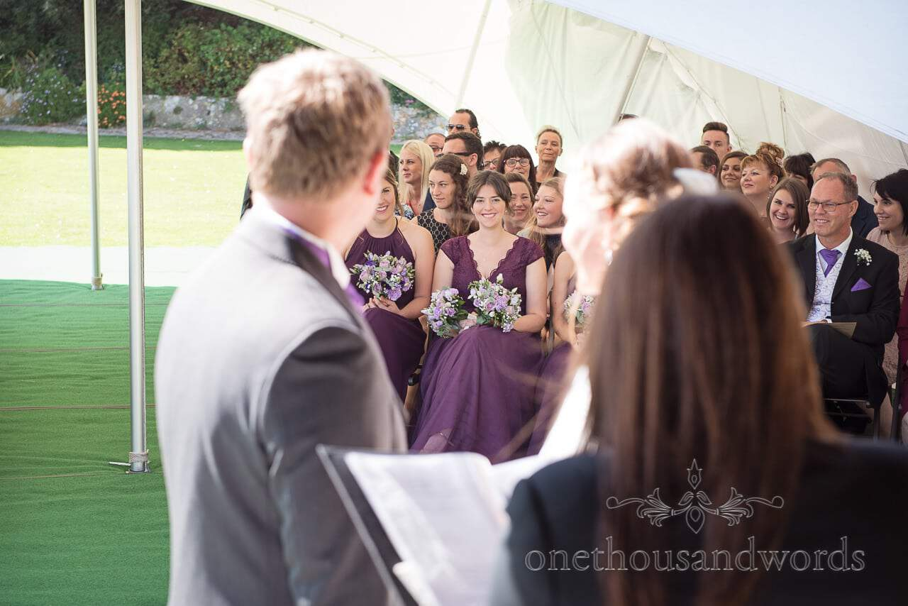 Bridesmaids during cliff top garden ceremony at Grand Hotel Wedding Photographs