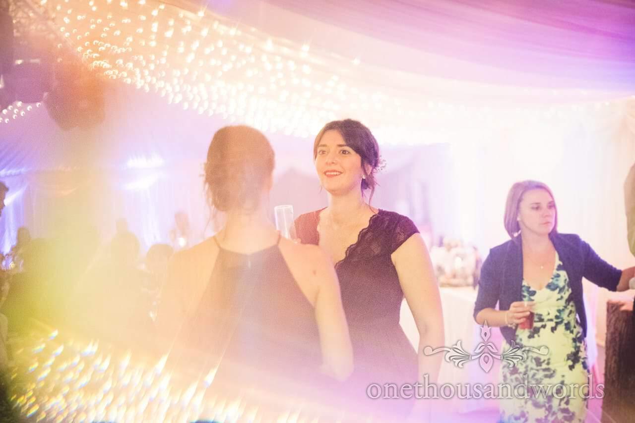 Bridesmaids on dance floor at Burnbake wedding reception
