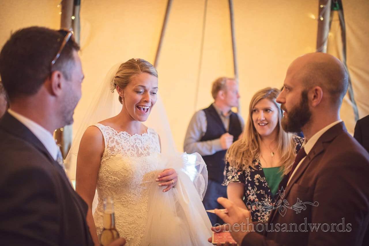 Chris Piercy astonished bride with wedding magic in Dorset wedding tipi