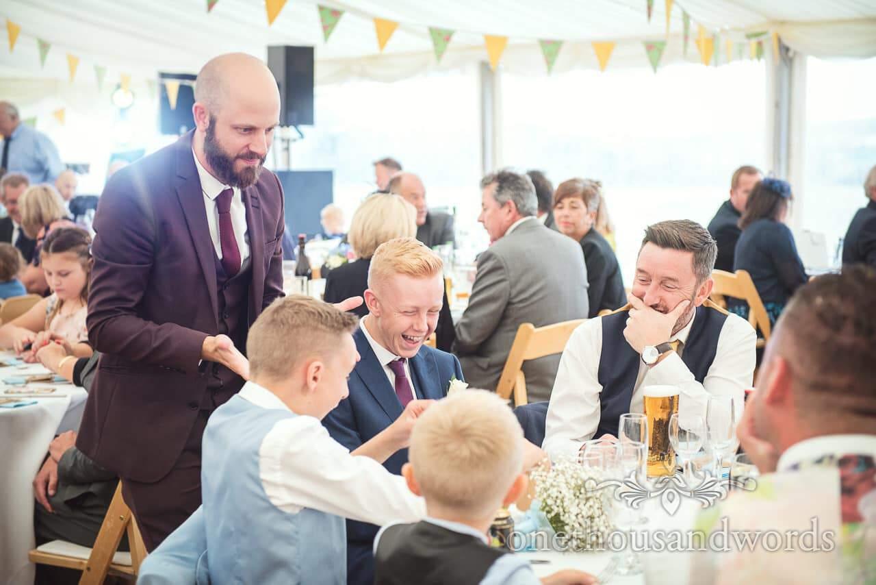 Chris Piercy wedding magician at Dorset Wedding Photographers marquee Wedding