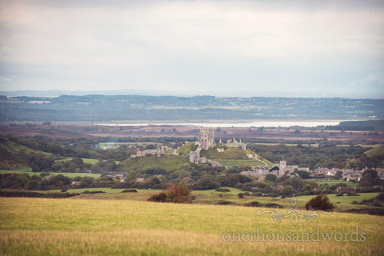 Corfe Castle view from Dorset Wedding Photographers Wedding photographs