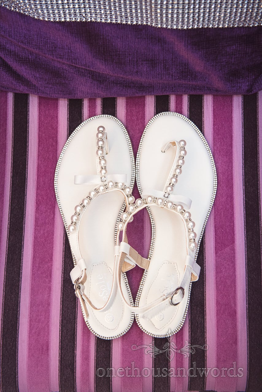 Detailed flat wedding shoes from Grand Hotel Wedding Photographs