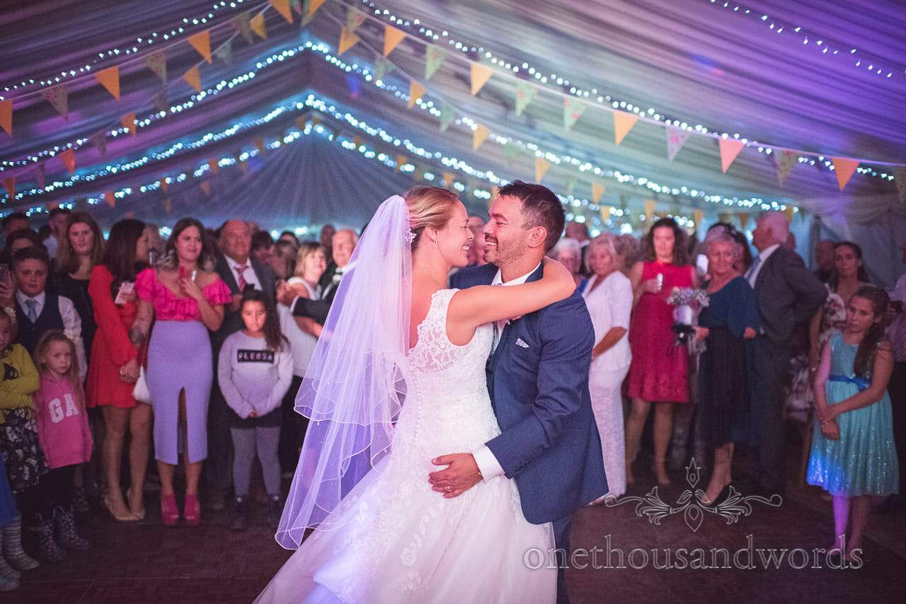 Dorset Wedding Photographers First dance from marquee Wedding Photographs