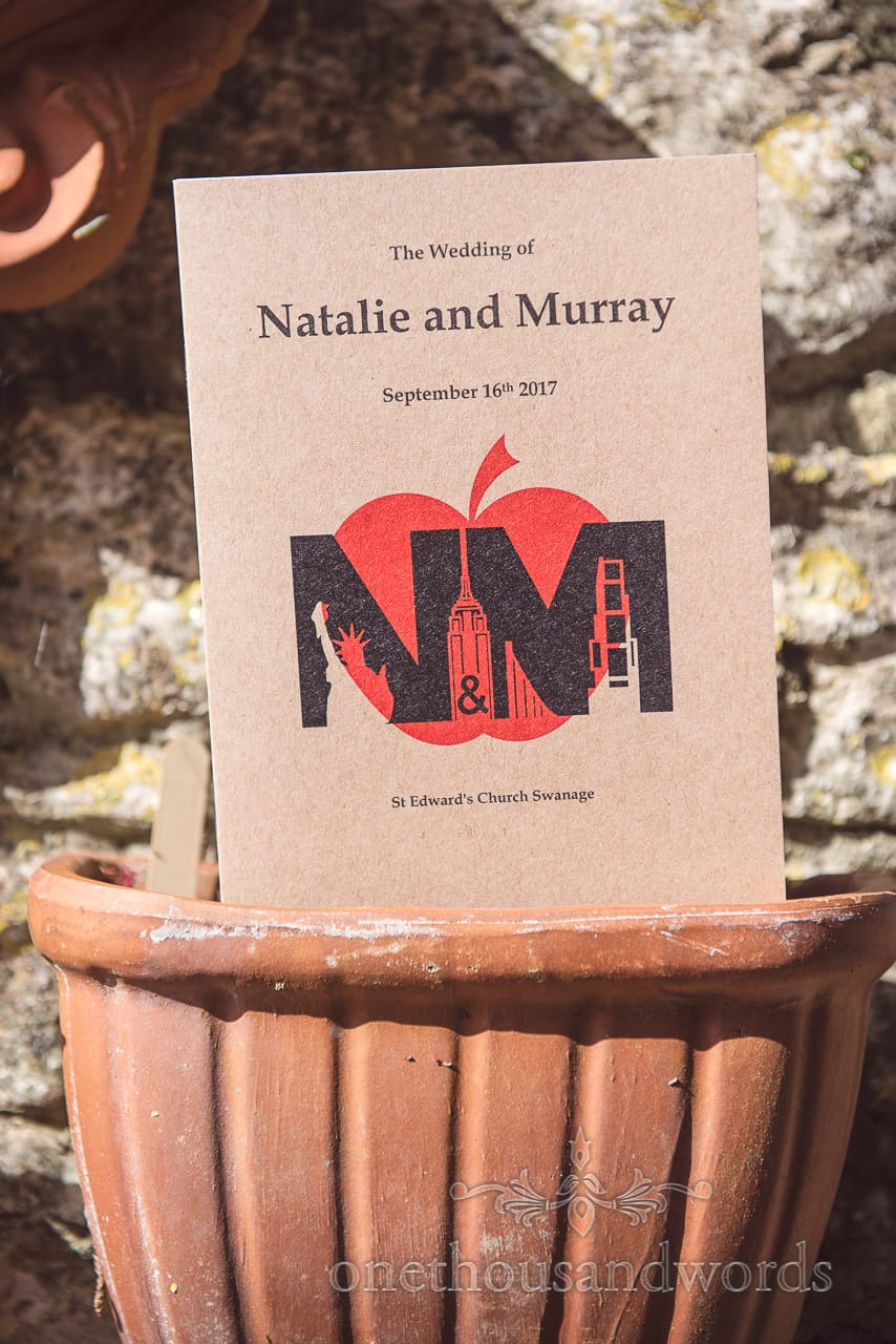 Dorset Wedding Photographers order of service with New York themed logo