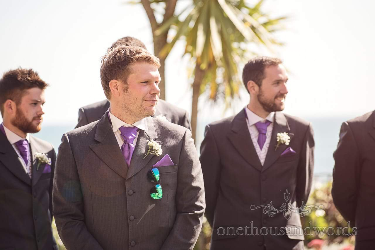 Groom and groomsmen await the arrival of the bride at Grand Hotel Wedding Photographs