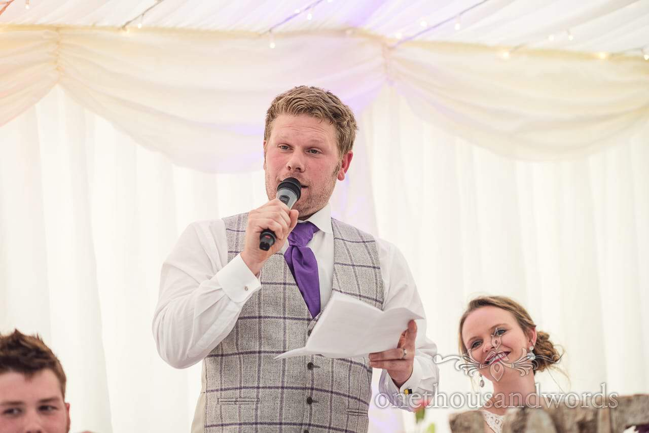 Groom gives funny wedding speech at marquee wedding in Dorset
