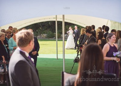 Groom sees his bride approaching at Grand Hotel Wedding Photographs