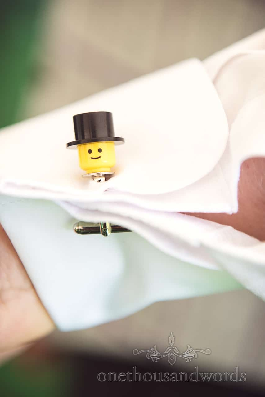 Lego detailed grooms cuff links at Grand Hotel Wedding Photographs