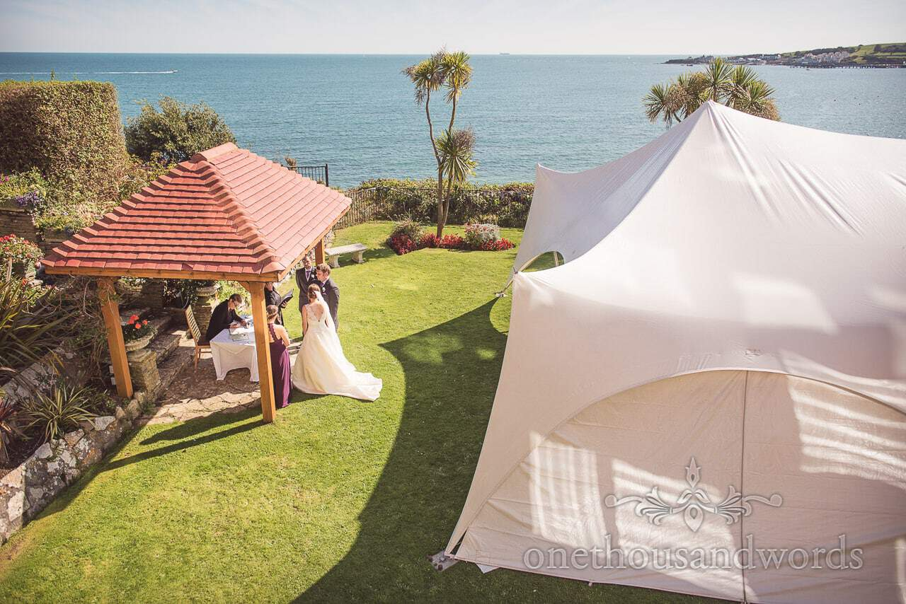 Open air ceremony in clifftop garden at Grand Hotel Wedding Photographs