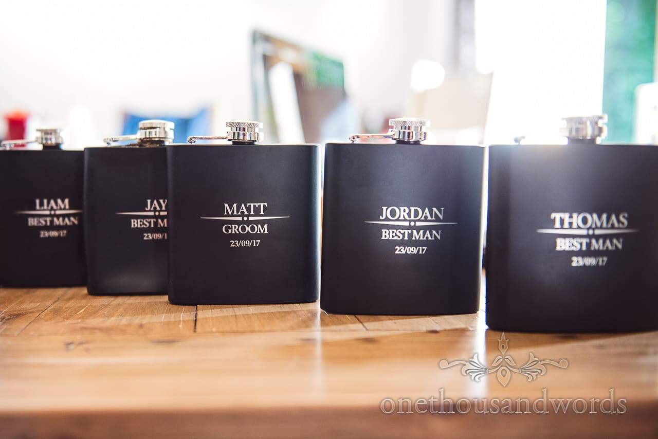 Personalised hip flasks for groom and best men from Grand Hotel Wedding Photographs