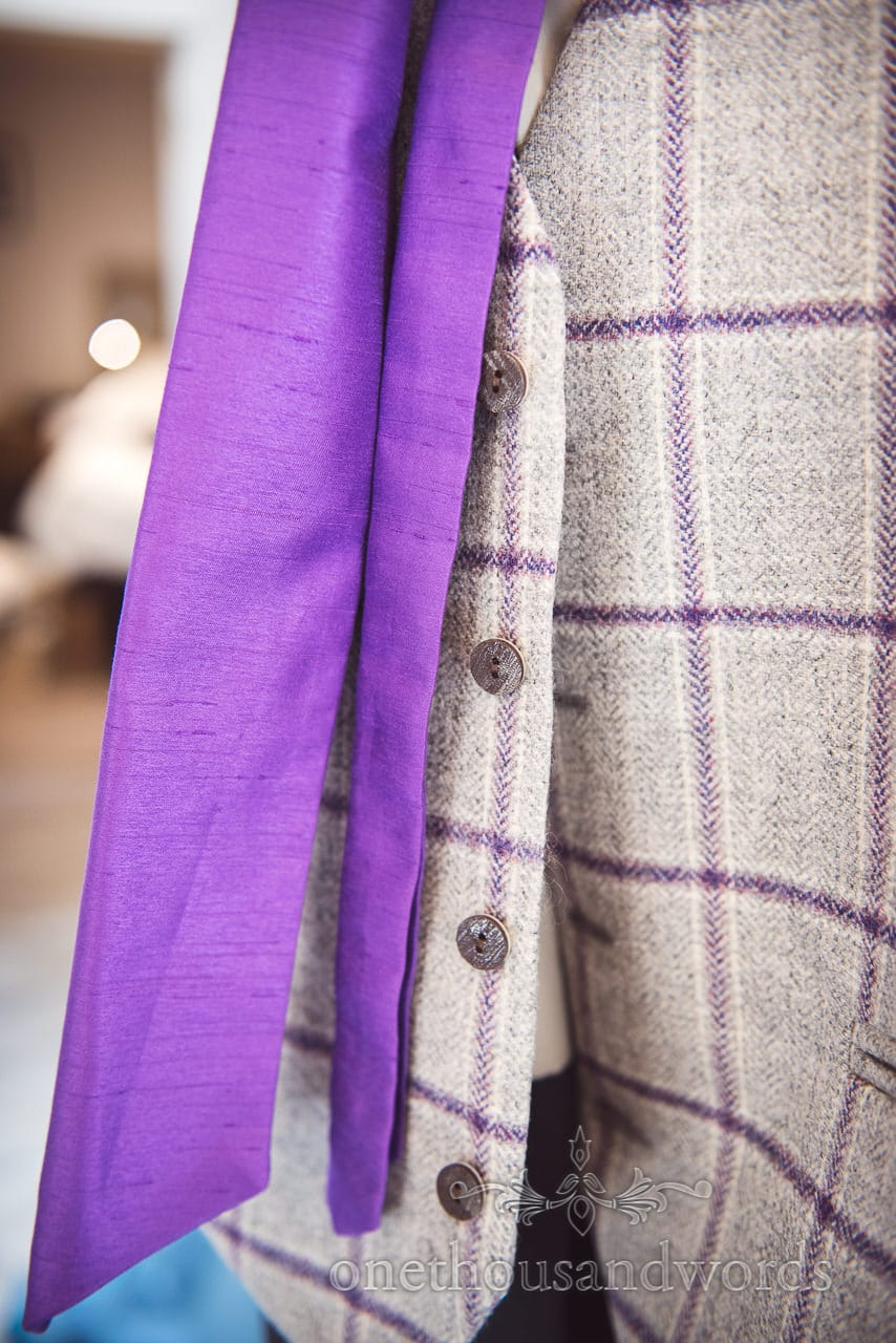 Purple cravat with detailed waistcoat from Grand Hotel Wedding Photographs