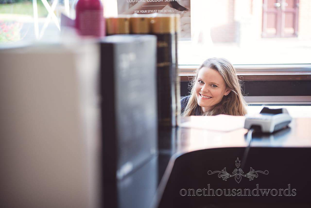 Smiling bride in salon on morning of Grand Hotel Wedding Photographs