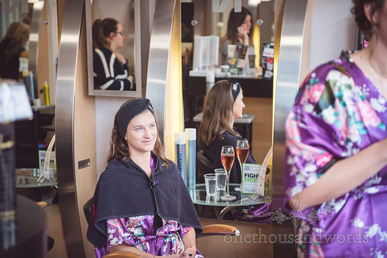 Smiling bridesmaid in salon on morning of Grand Hotel Wedding Photographs