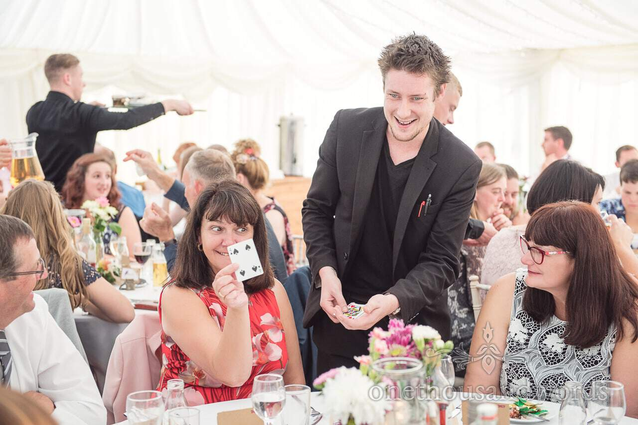 Stephen Simmons Wedding magician wows guests at Marquee wedding in Dorset