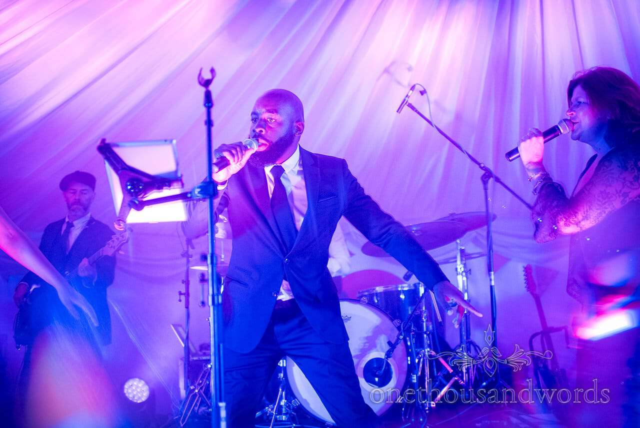 Sway Allstars lead singer at Dorset Wedding Photographers Wedding evening reception