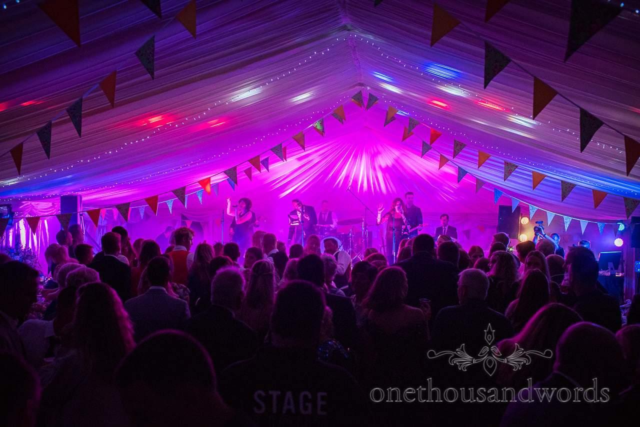 Sway Allstars wedding band play to huge wedding crowd in wedding marquee