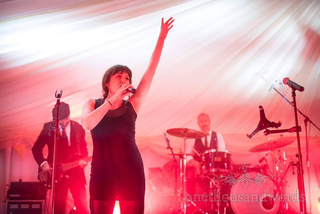 Sway Allstars wedding band singer on stage at Dorset Wedding Photographers Wedding