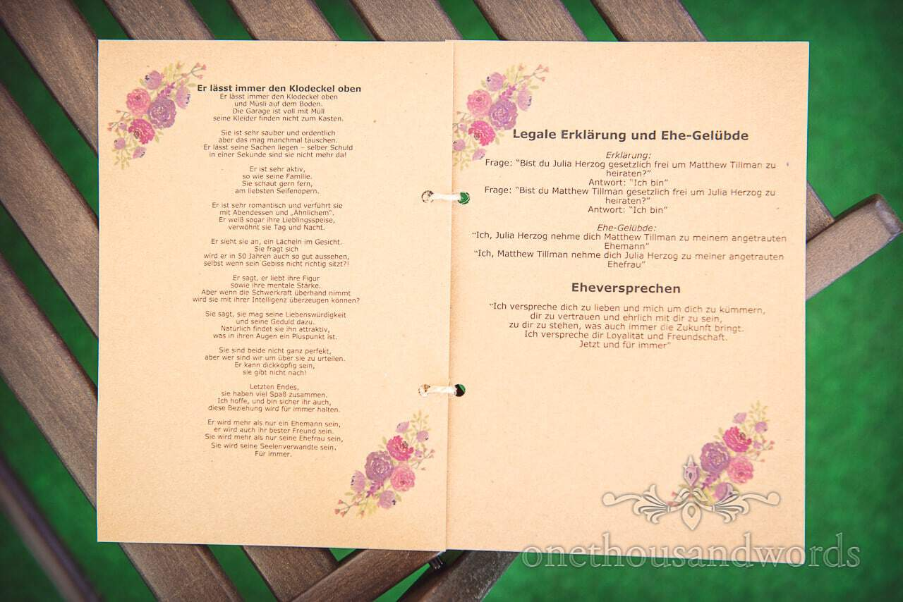 Translated order of service booklet at Grand Hotel Wedding Photographs