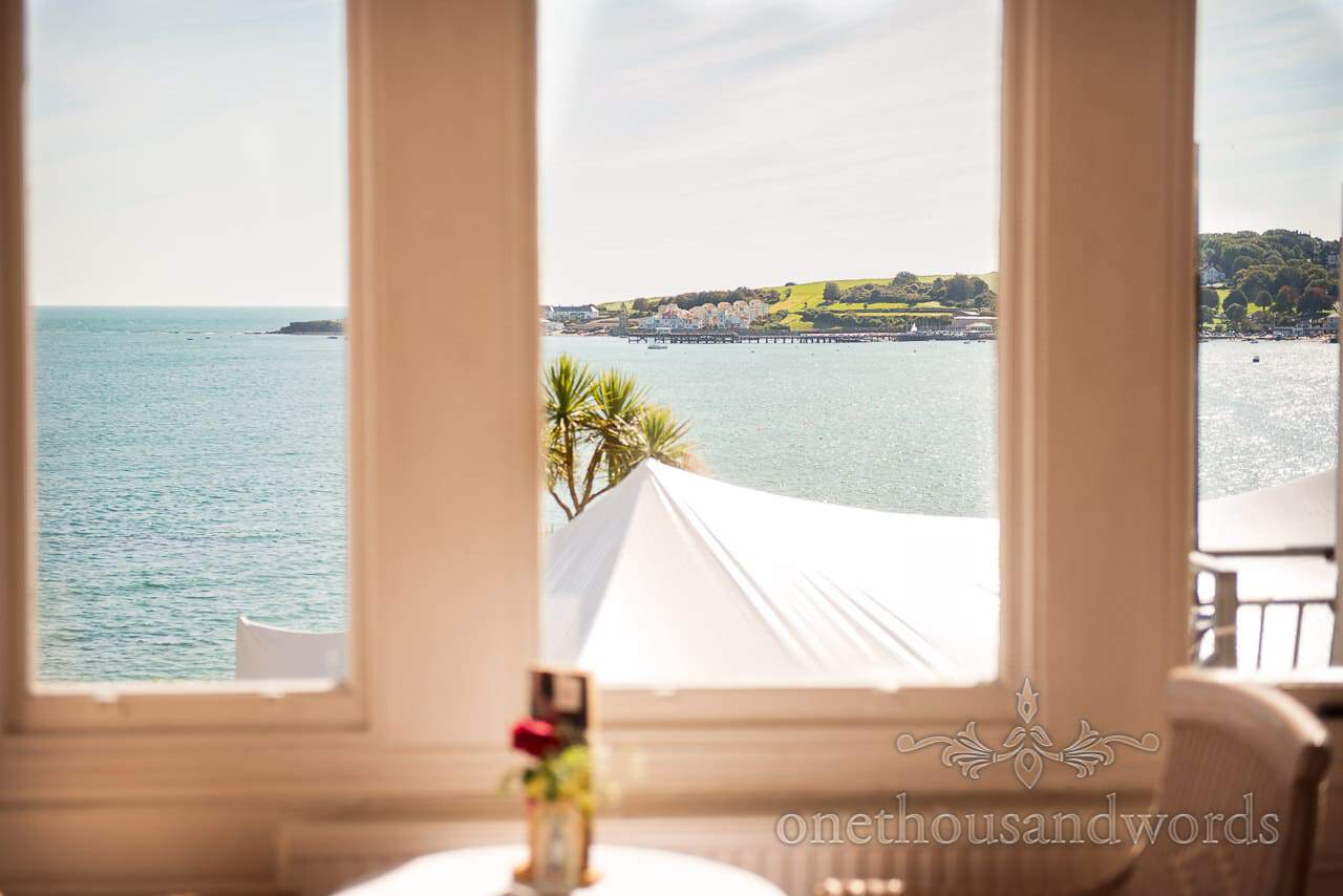 View of Swanage through window at Grand Hotel Wedding Photographs
