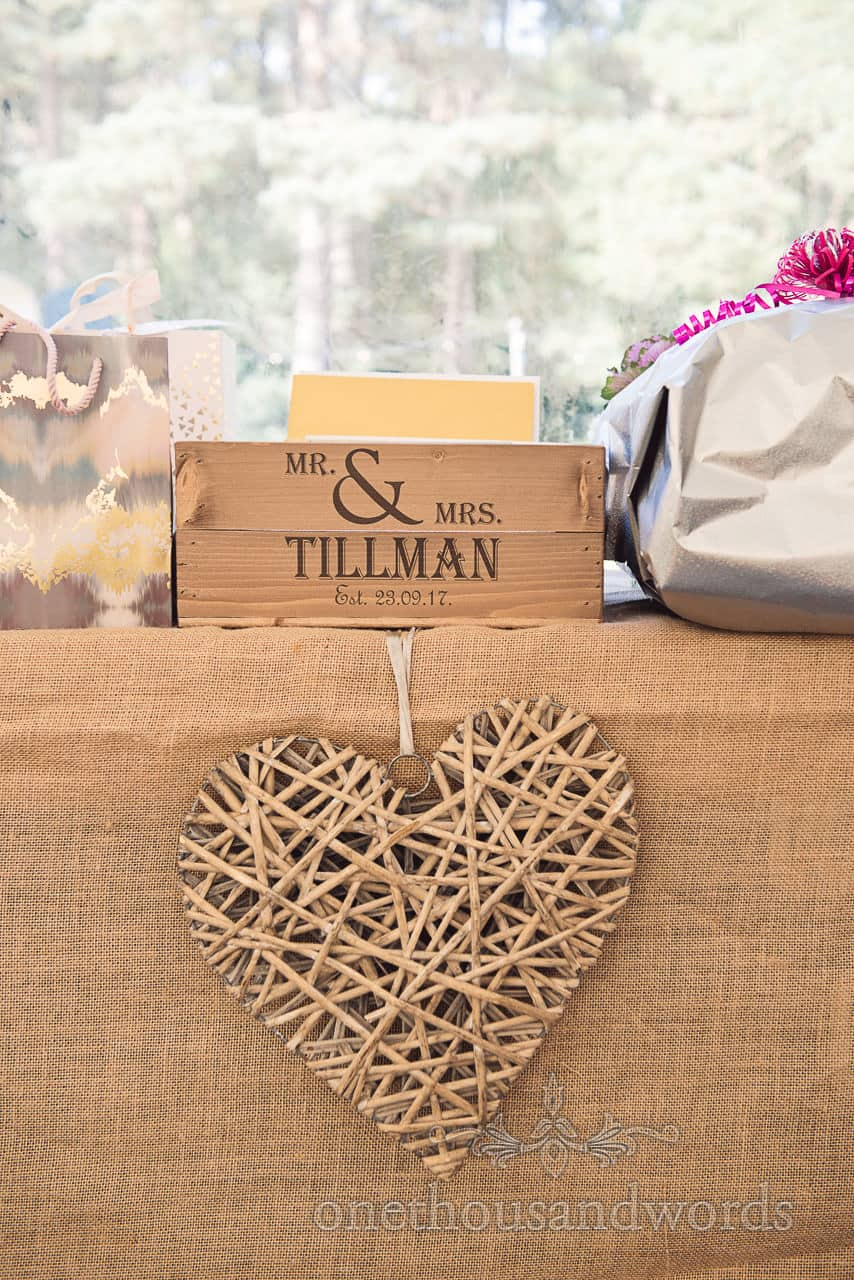 Wedding love hart made from bamboo with wedding card printed crate box