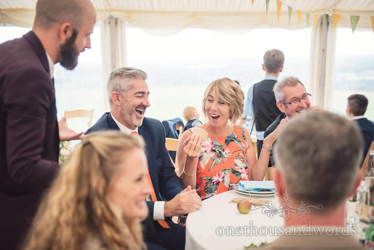 Wedding magician Chris Piercy entertains at Dorset Wedding Photographers Wedding