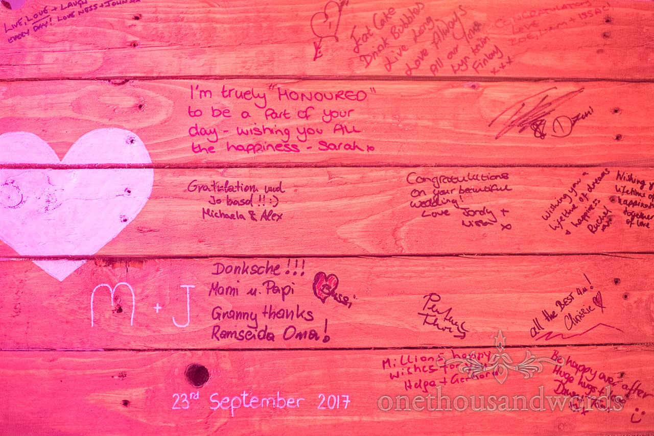 Wooden panel guest signing book from Grand Hotel Wedding Photographs