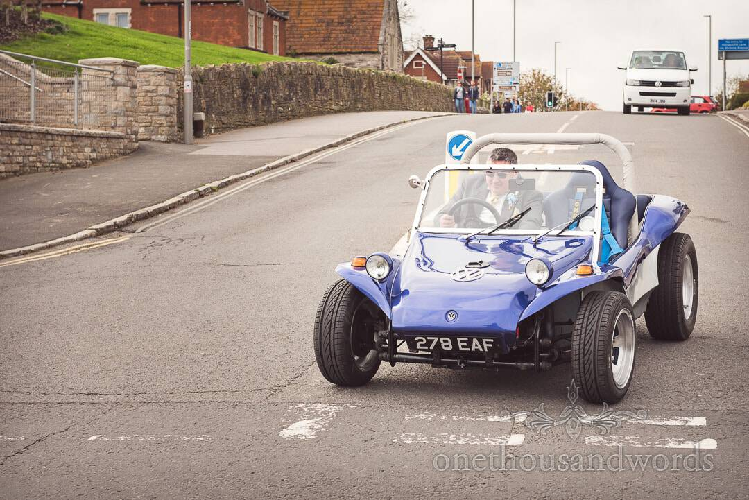 Blue VW beach buggy driven in Swanage by groom on wedding day in Dorset