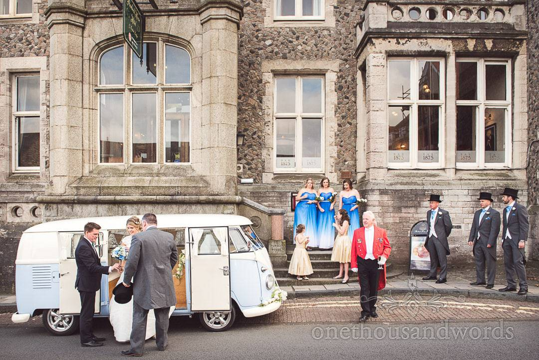 Bride and groom arrive in VW van at Purbeck House Hotel Wedding Photographs