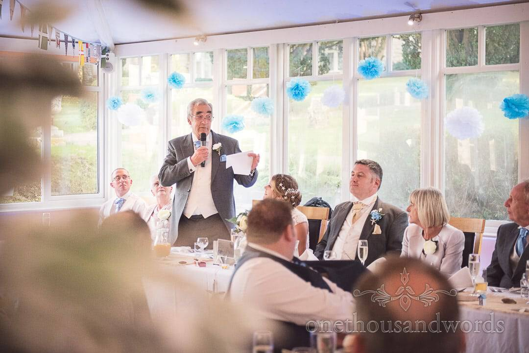 Bride's step father makes wedding speech at Purbeck House Hotel Wedding