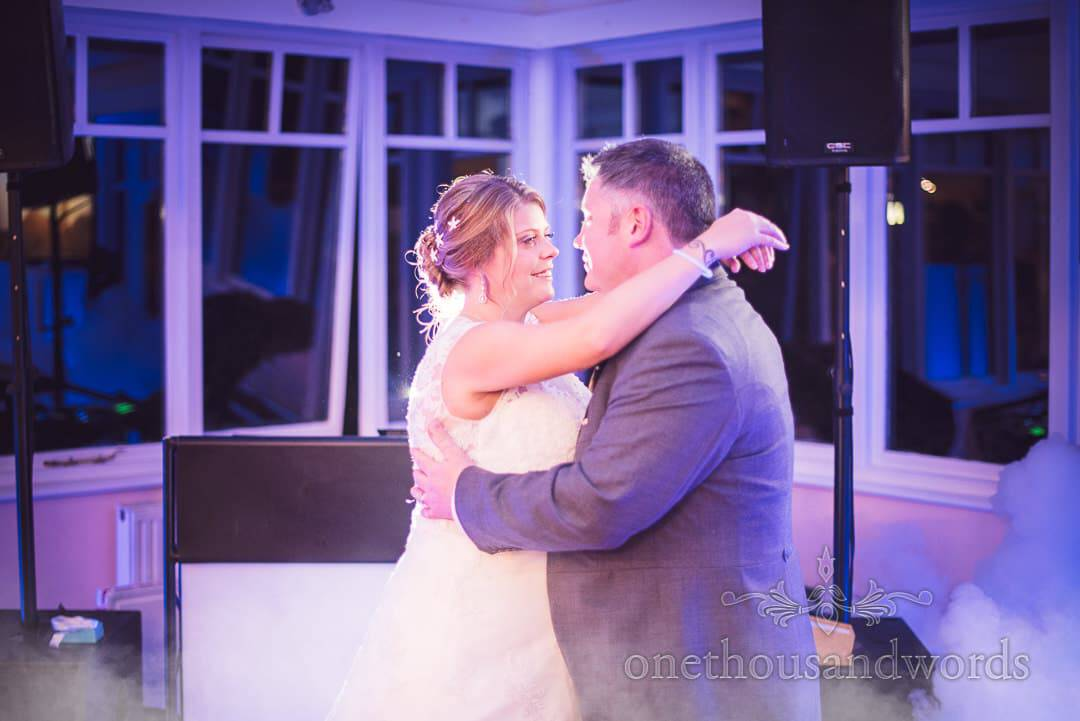 Purbeck House Hotel Wedding Photographs of first dance with mist machine