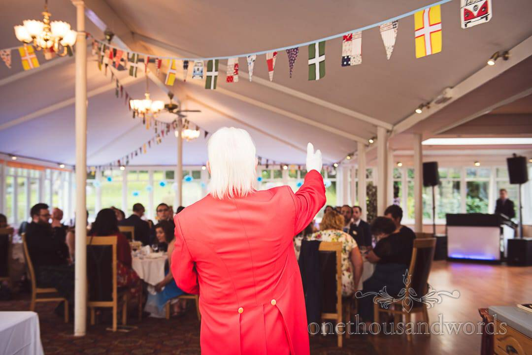 Stuart Jowett Toastmaster in red jacket at Purbeck House Hotel Wedding Photographs