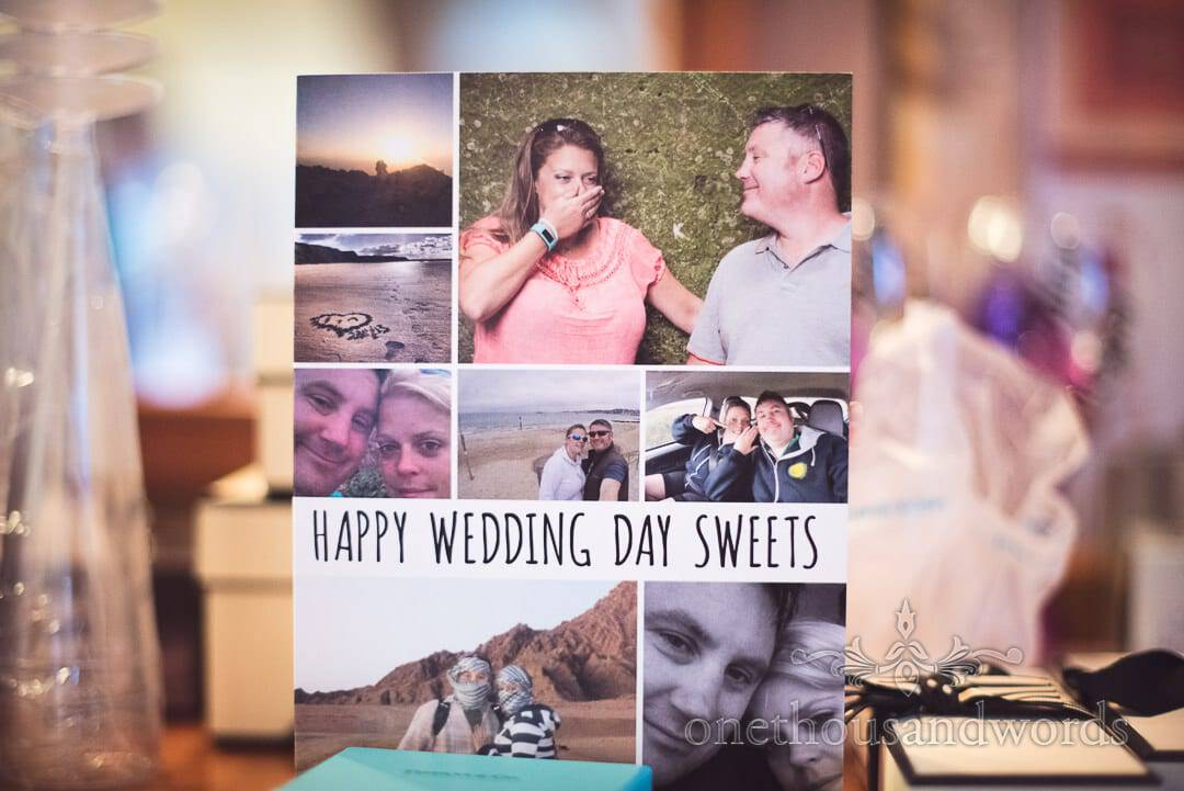 Wedding morning card from the groom made from couple photographs