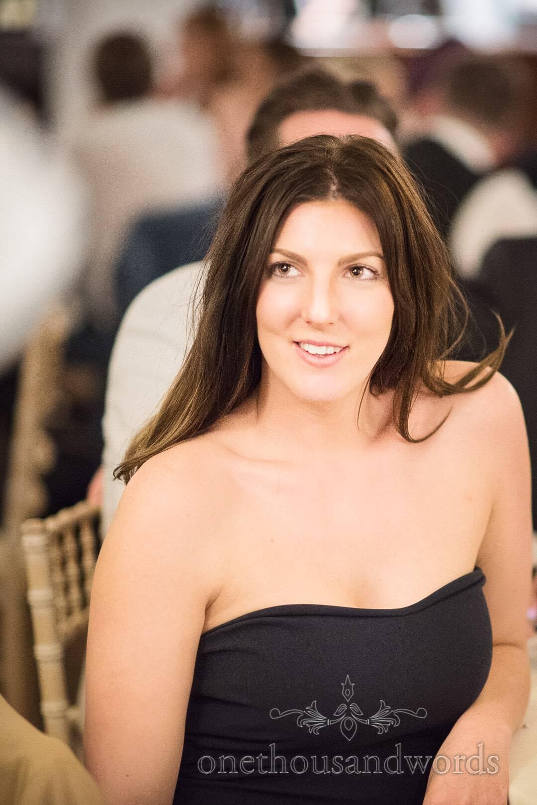 Beautiful brunette wedding guest portrait photograph at The Italian Villa Wedding