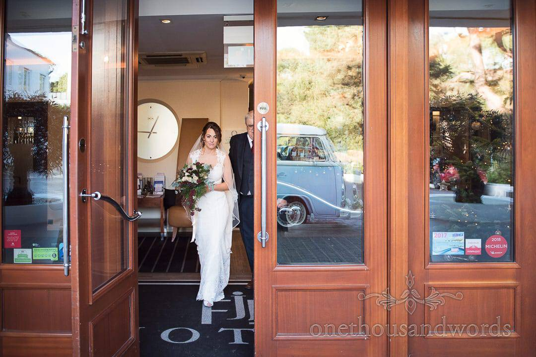 Bride and Father leave hotel on morning of Italian Villa wedding