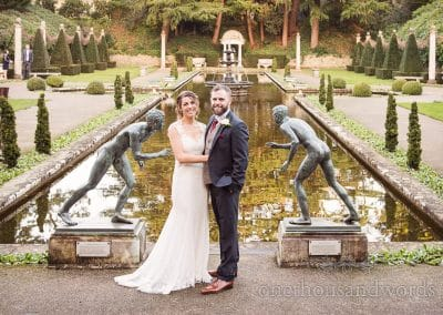 Bride and groom in Italian garden at Italian Villa winter wedding