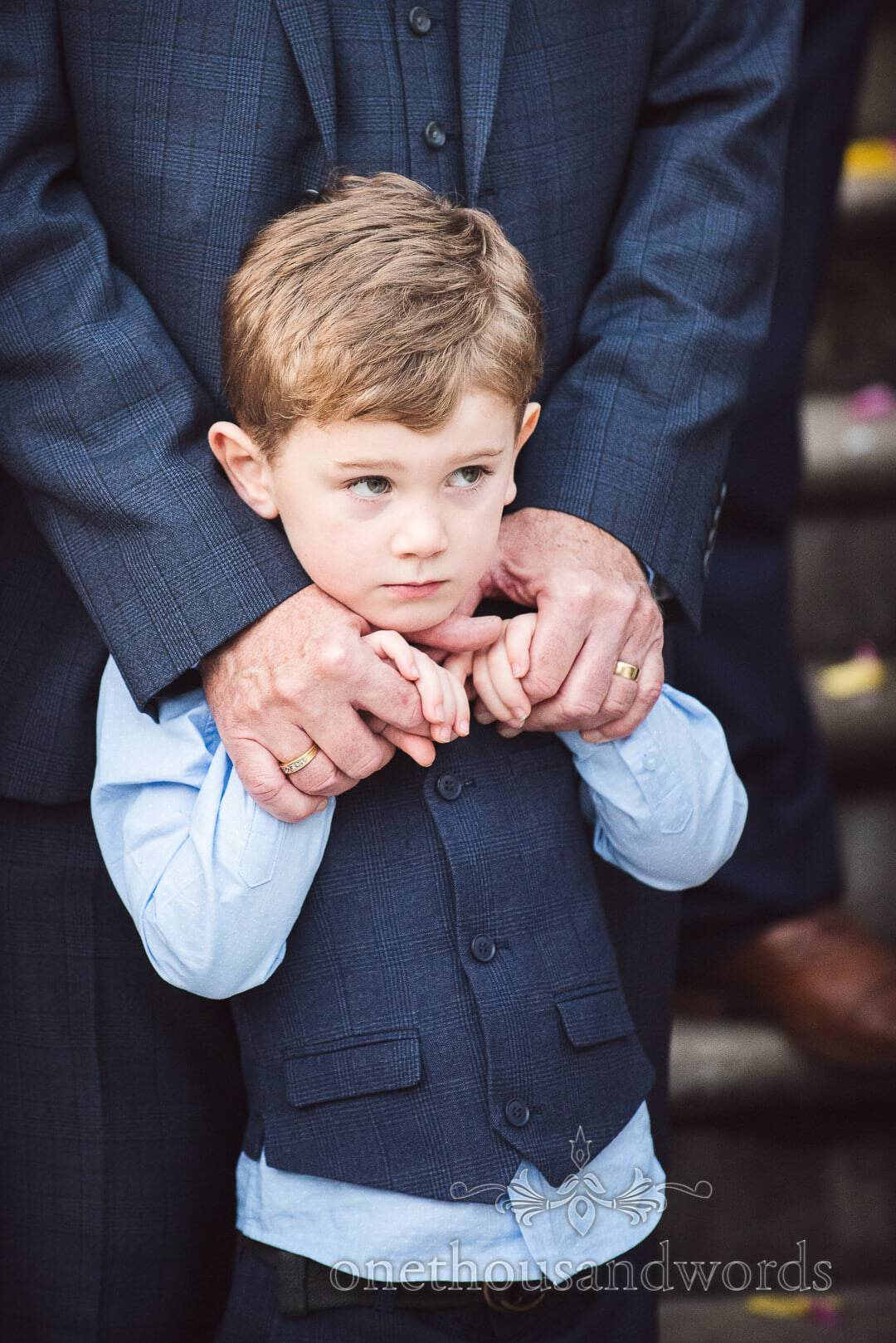 Bride and Groom's son portrait photograph during Italian Villa Wedding group photos