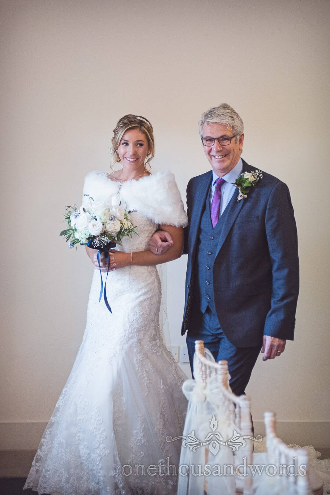 Bride and her father enter ceremony room at The Italian Villa Winter wedding