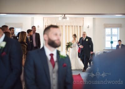 Bride arrives at Ceremony with father at Italian Villa wedding photos