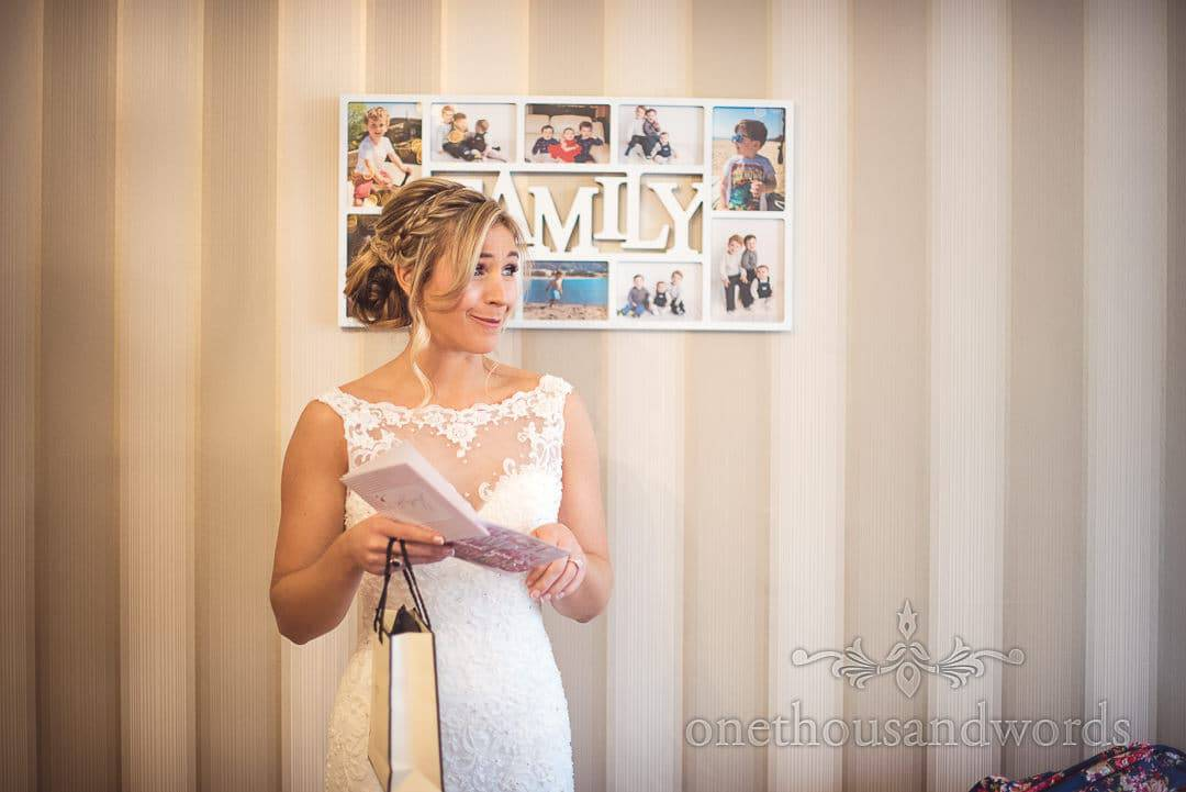 Bride reads emotional poem from groom on wedding morning at Family home