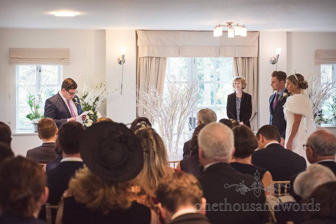 Bride's brother gives reading during Italian Villa wedding ceremony in Poole, Dorset