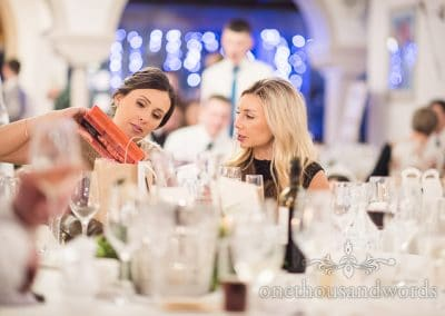 Bridesmaid and guest during reception at Italian Villa wedding photos