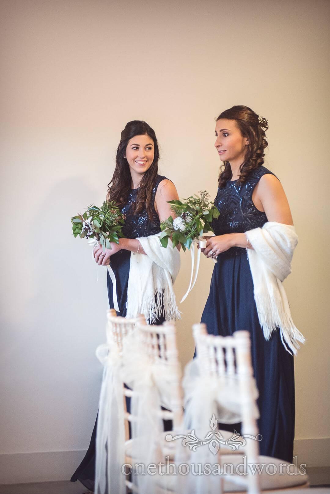 Bridesmaids in dark royal blue bridesmaids dresses enter Italian Villa Wedding ceremony