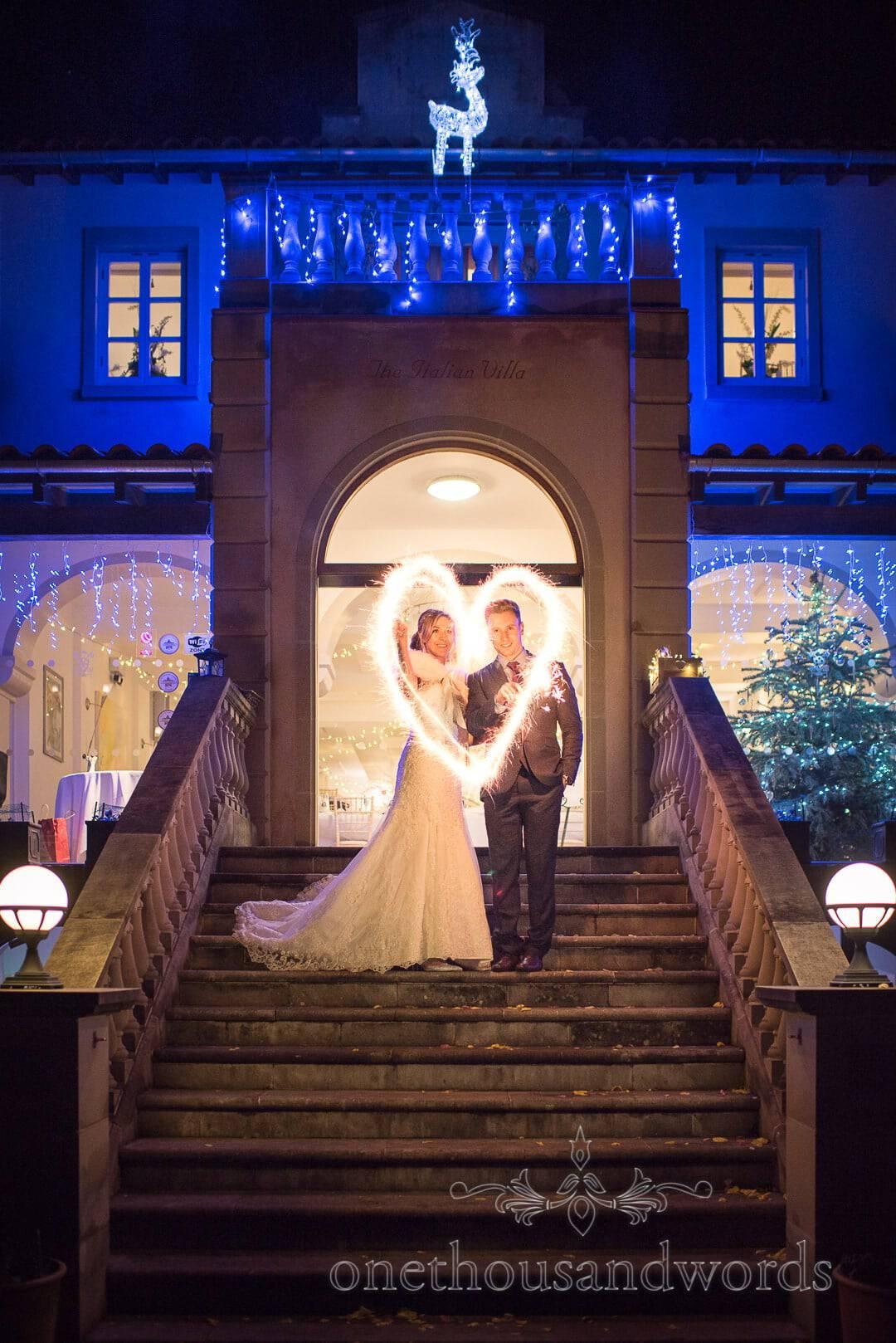 Christmas Love heart Sparklers at The Italian Villa wedding venue photographs