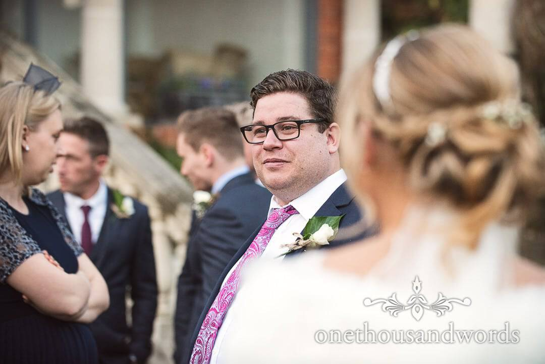 Documentary portrait photograph of bride's brother in paisley tie at the Italian Villa